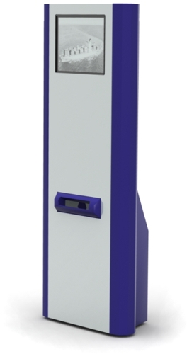 Slim line kiosk with printer
